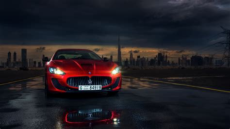 maserati dubai maserati granturismo red supercar front view lights