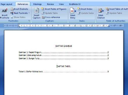 membuat daftar isi gambar  tabel otomatis  office