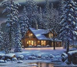 Winter cottage wallpaper forwallpaper com