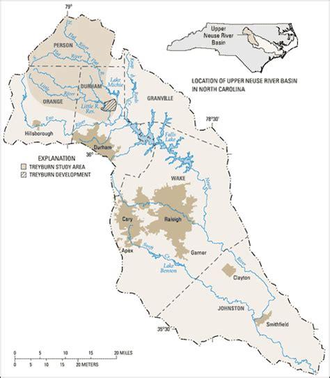 river map of carolina usgs carolina wsc projects treyburn study area