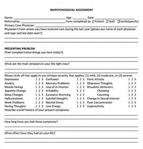 Biopsychosocial Assessment Template by Sle Assessment 14 Free Sles Exles Format
