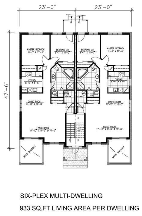 multifamily floor plans multi family plan 48066 at familyhomeplans com