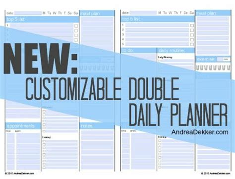 free customizable printable daily planner new customizable double daily planner finally andrea