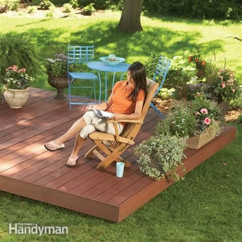 building a backyard deck backyard decks build an island deck the family handyman