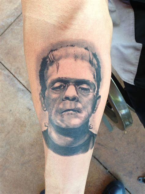 san clemente tattoo frankenstein brush realistic portrait by monte