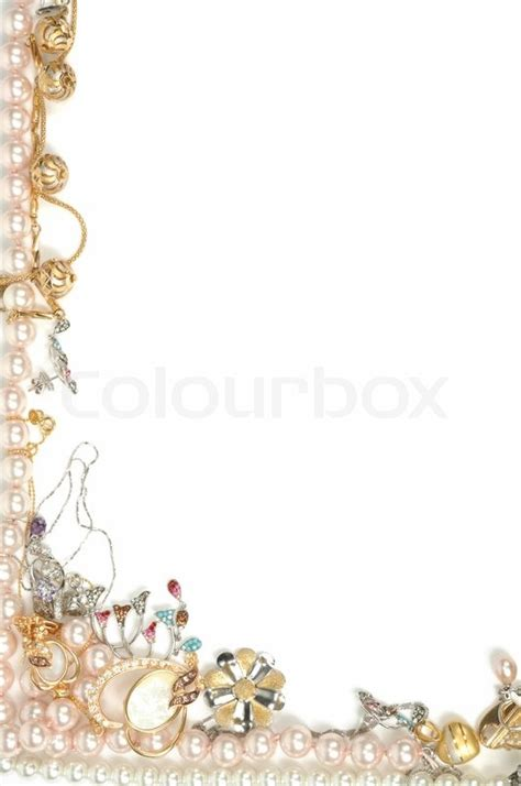 Border From Gold Jewelry Isolated On White Stock Photo Jewelry Border Clip