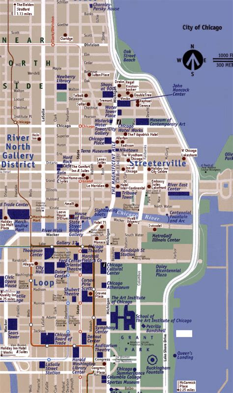 chicago hotel map rooms map of chicago hotels