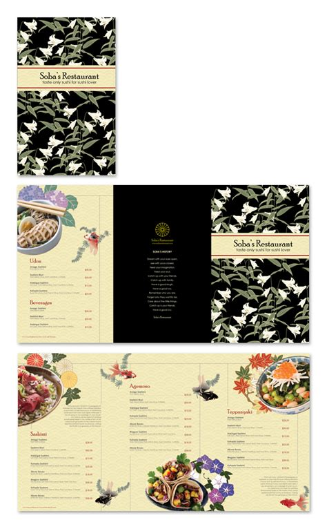 japanese menu template japanese restaurant menu template