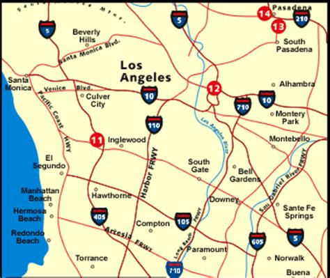Los Angeles inset map  Early History of the California