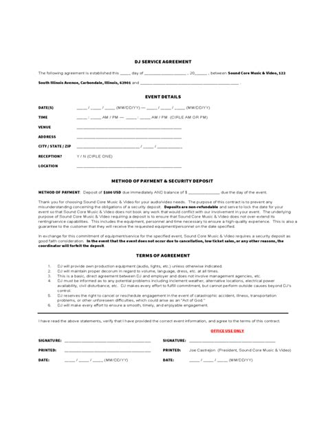 dj service contract template dj service agreement free
