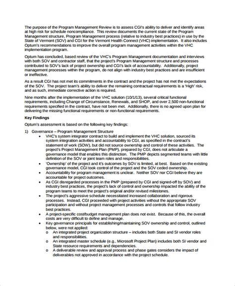 7 Management Review Templates Sle Templates Management Review Template