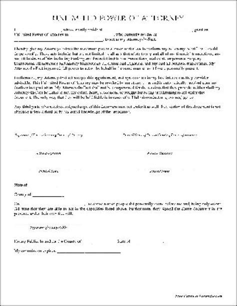 Free Basic Unlimited Power Of Attorney From Formville Simple Power Of Attorney Form Template