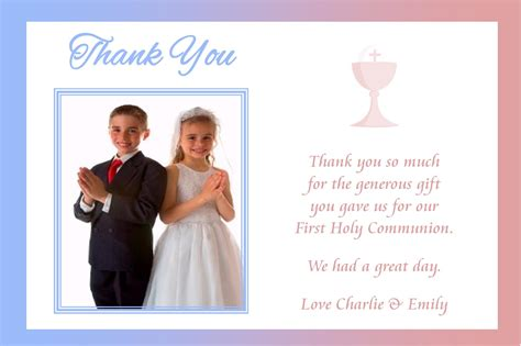 communion thank you card template personalised boy photo communion thank you cards