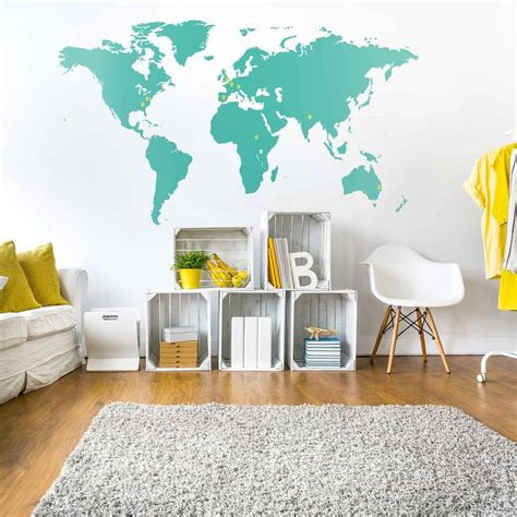 wall sticker map of the world world map wall sticker vinyl impression