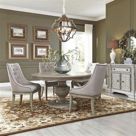 grand estates antique gray  dining table set