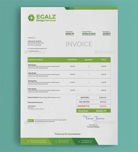 Download Sales Invoice Template Psd Rabitah Net Creative Invoice Template Free