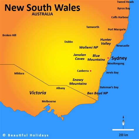map of new south wales australia new south wales map showing attractions accommodation