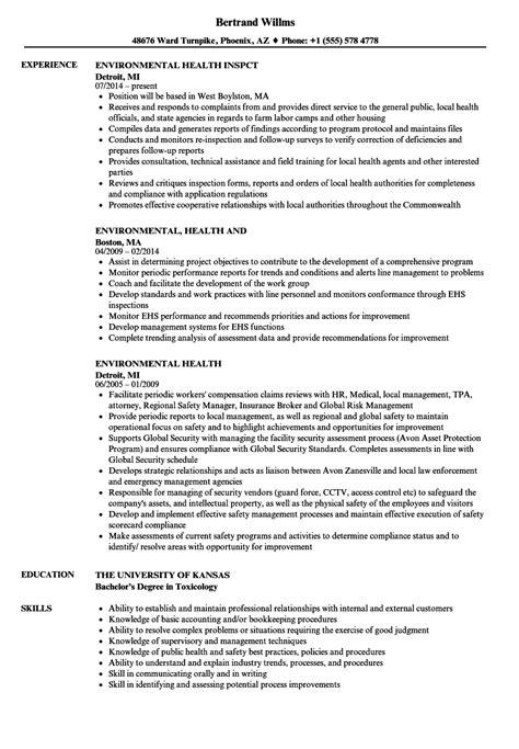Environmental Health Resume Samples   Velvet Jobs