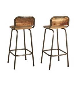 tabouret de bar bois metal vintage