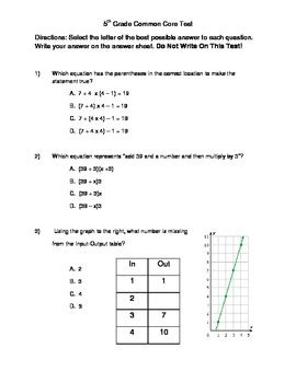 Common Worksheets 5th Grade Math by 5th Grade Common Math Benchmark Test By Kyle Selliers