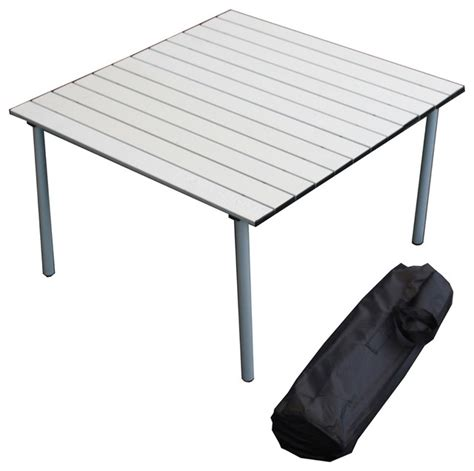 portable dining table low aluminum portable table in a bag silver