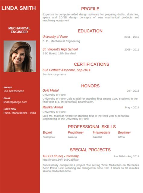 modern resume format for engineers mechanical engineering resume templates