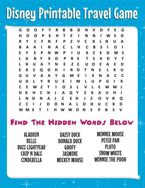 printable world puzzle road trip tips bring this free disney word search more