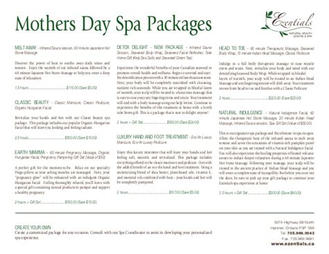 mothers day spa packages ezentials
