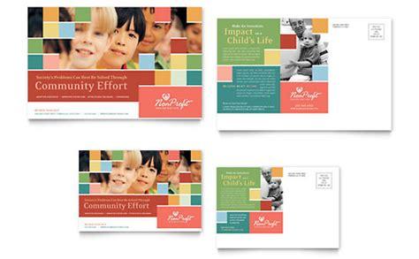 Non Profit Association For Children Postcard Template Design Marketing Postcards Templates