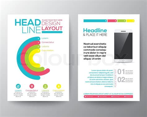 layout of flyer graphic design layout with smart phone concept vector