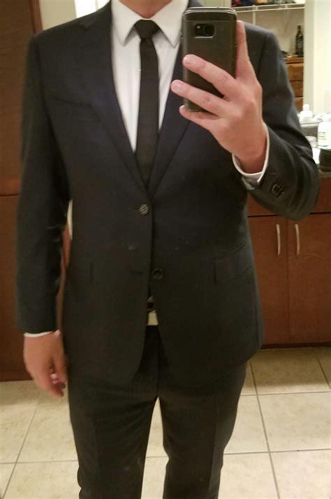 Navy Black navy suit black tie
