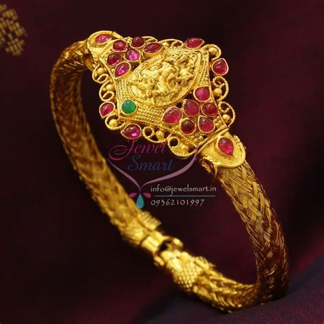 B0782 Temple Kempu Laxmi Kada Gold Plated Open Type Best Quality Imitation Jewelry