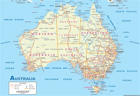 printable road maps of australia map of australia outravelling maps guide