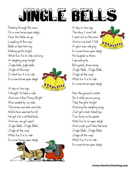 printable christmas song lyrics  fun teaching