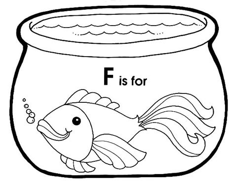 F Fish Coloring Page by F Is For Fish In Fish Bowl Coloring Page