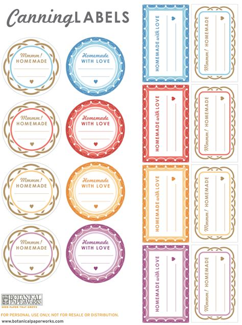 free printable jar labels template free printable canning labels botanical paperworks