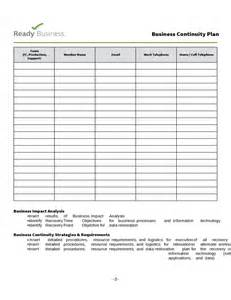 simple business continuity plan template free download