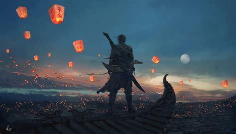sea artwork moon warrior sky lanterns wallpapers hd