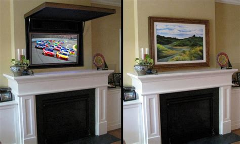 hiding a flat panel tv above a fireplace traditional