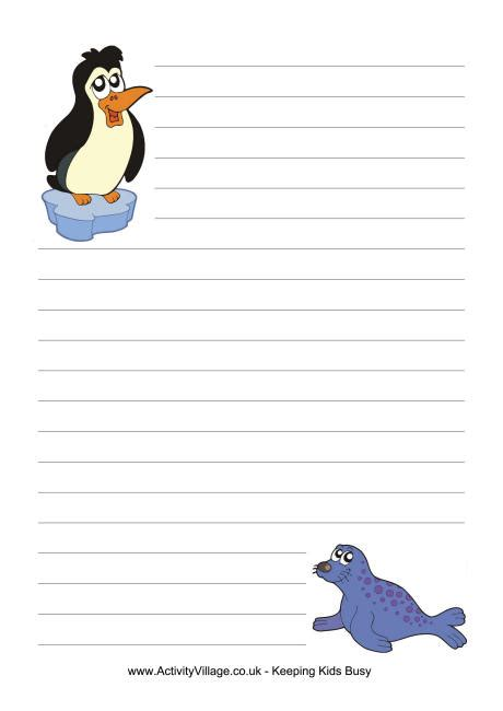 printable animal lined paper polar animals writing paper