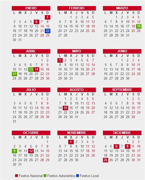 Calendario Festivo 2017 Calendario Laboral 2017