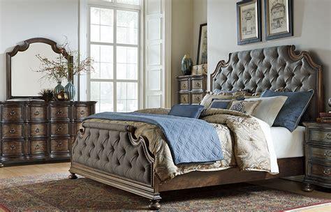 tuscan bedroom furniture tuscan valley weathered oak upholstered panel bedroom set 13619 | 215 br kubdmc 2