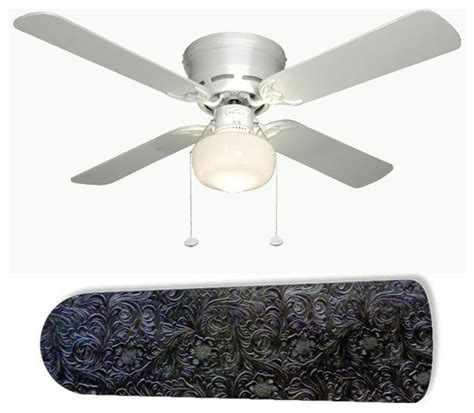 Western Chic Black Leather 42 Quot Ceiling Fan And L Western Ceiling Fans