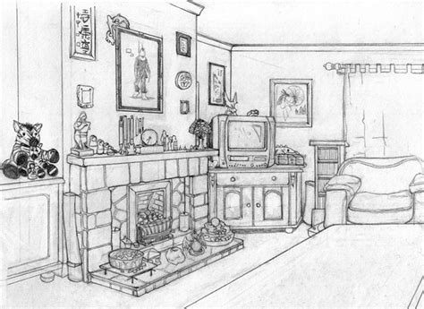 living room drawing www jessicapadkin com original art