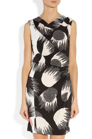 Silk Printed Silk Dress Intl 2013 fashion black white trend for a bold new look