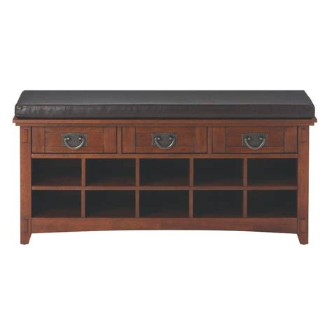 home decorators bench home decorators collection 3 drawer artisan shoe storage bench in medium oak 9232800550 the