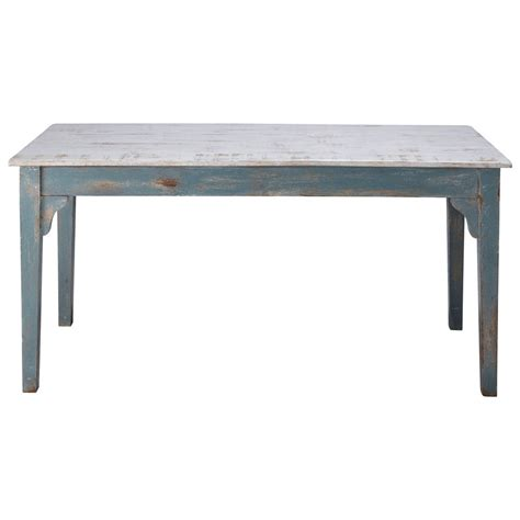 In Table Distressed Mango Wood Dining Table In Grey Blue W 160cm