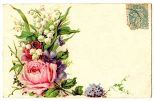 Pretty Flowers In French - vintage clip art card with floral spray rose the