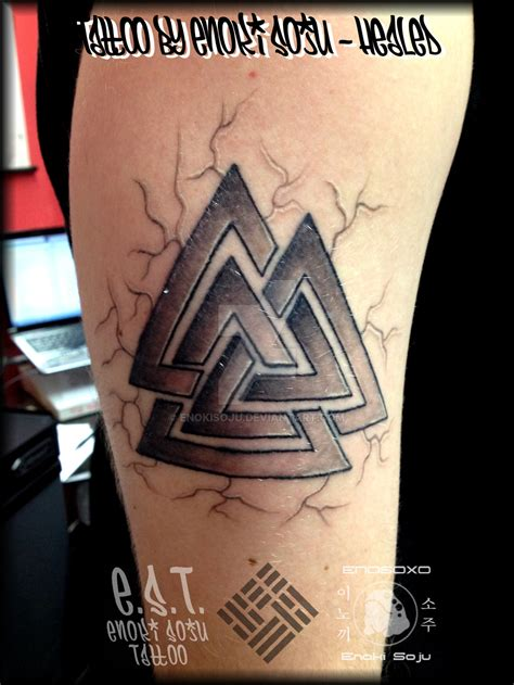 valknut tattoo meaning valknut viking 3 triangles tattoo by enoki soju by