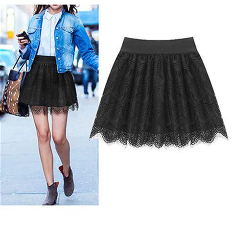 womens skater skirt lace bottom all black